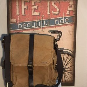 Fossil Canvas & Leather Crossbody Messenger Bag